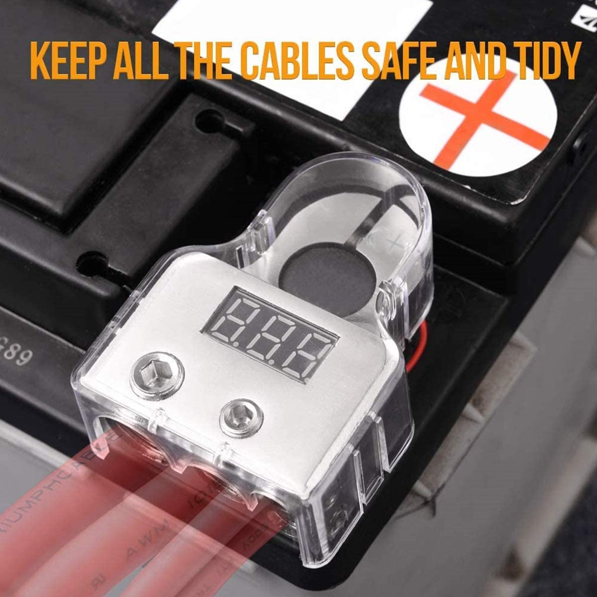Silber ZHITING 2 St/ück Batterieklemmen 0//4//8 Spurweite AWG Anschl/üsse Positive und Negative Battery Terminal mit Voltmeter f/ür Auto Polklemmen