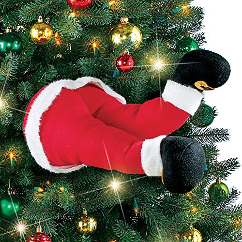 Collections Etc Funny Santa and Elf Stuck in Christmas Tree Legs Decoration - Holiday Decorative Accents