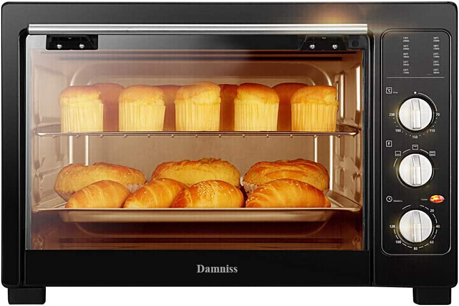 Damniss Kitchen Electric Rotisserie, Toaster Electric Oven Cooker with Food Warming Hot Plates