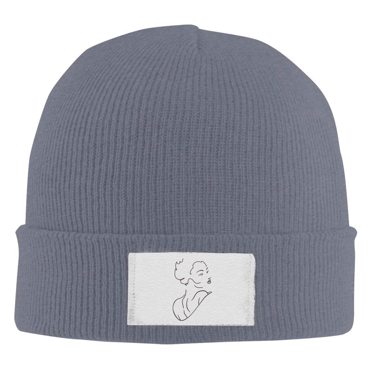 Dunpaiaa Skull Caps Geisha Winter Warm Knit Hats Stretchy Cuff Beanie Hat Black
