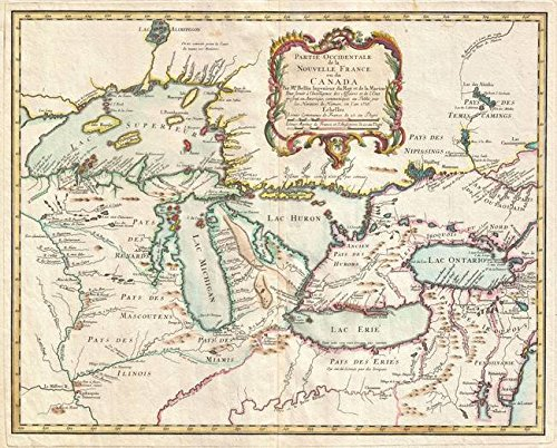 Wall Art Print entitled Vintage Map Of The Great Lakes (1755) by Alleycatshirts @Zazzle | 30 x 24