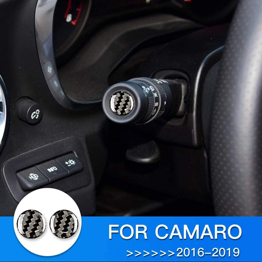 AIRSPEED Carbon Fiber Car Headlight Wiper Adjustment Lever Sticker Interior Trim Decoration Decal for Chevrolet Camaro Accessories