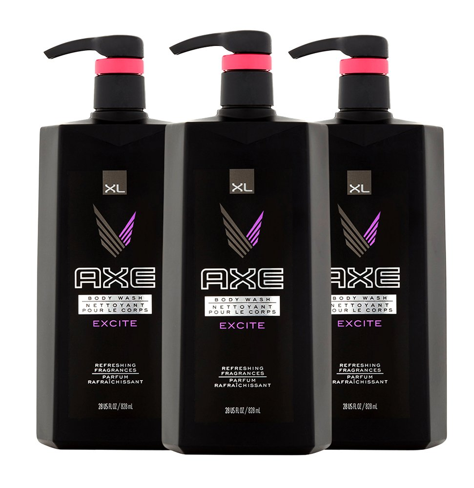 AXE Excite Body Wash for Men 28 ounce with Pump, 3 Count