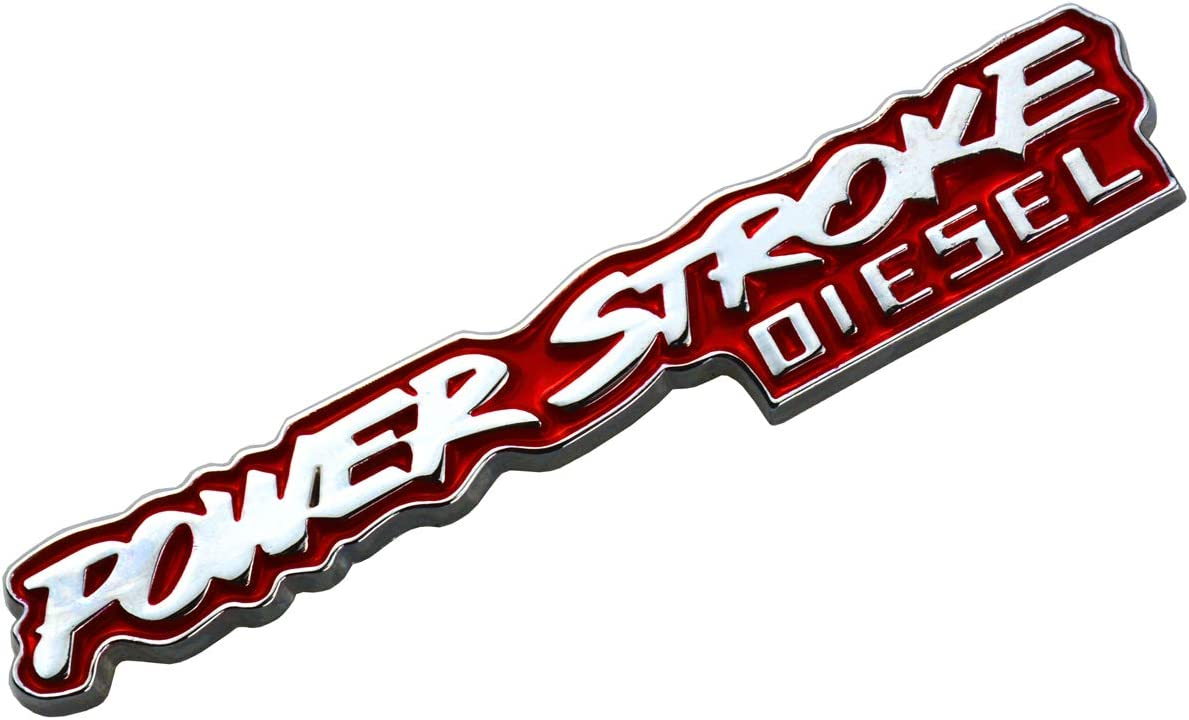 Red 1 Pcs Power stroke Diesel Sticker Badge Fender Door Tailgate Emblem Decal Compatible For F-150 F-250 F-350 F-450 F-550 Super Duty