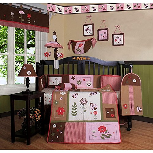 Brown Green Pink Ladybug Crib Bedding Set, Newborn Flower Nursery Bed Set, Paisley Themed Floral Patchwork Insects Infant Child Nature Stripes Quilt Blanket, Cotton Polyester (Brown Ladybug)