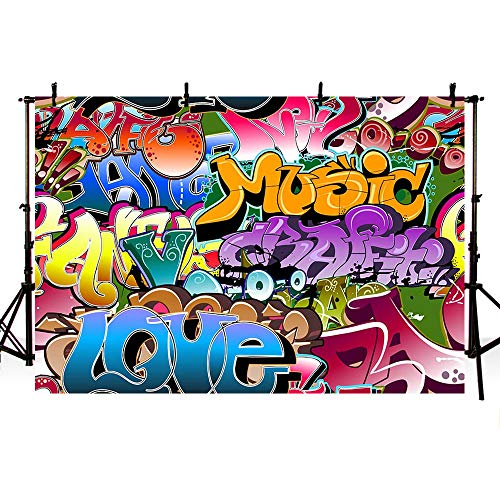 MEHOFOTO Hip Hop 80s 90s Themed Graffiti Party Decoration Photography Backdrops Props Portrait Personalized Photo Studio Booth Background Banner 7x5ft -