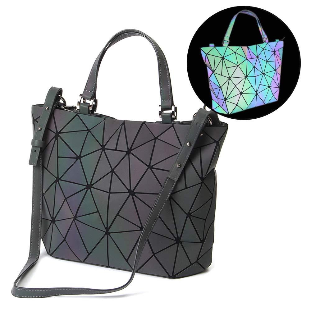 9a8181ffed Amazon.com  HotOne Geometric Luminous Purses and Handbags Shard Lattice  Holographic Purse Fit 14