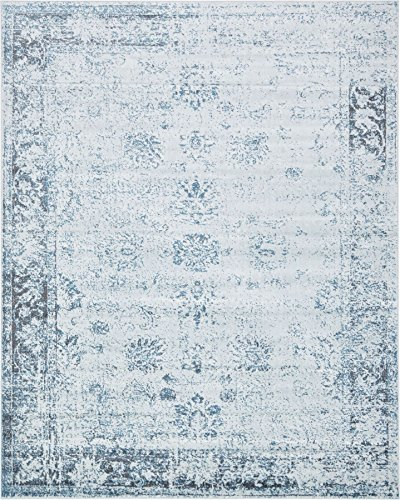 - Light Blue 8' x 10' FT Canterbury Rug Modern Traditional Vintage Inspired Overdyed Area Rugs
