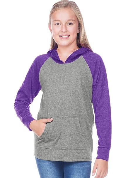b32c4c5c Amazon.com: Kavio! Youth Jersey Contrast Raglan Long Sleeve Hooded Top w.  Pouch Dark H.Gray/Ht. Purple XL: Clothing