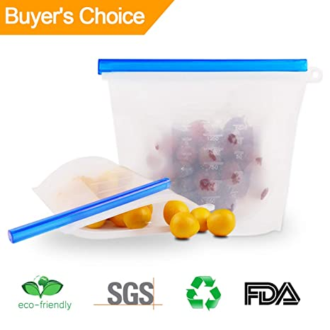 Amazon.com: Reusable Silicone Food Storage Bags-Airtight ...