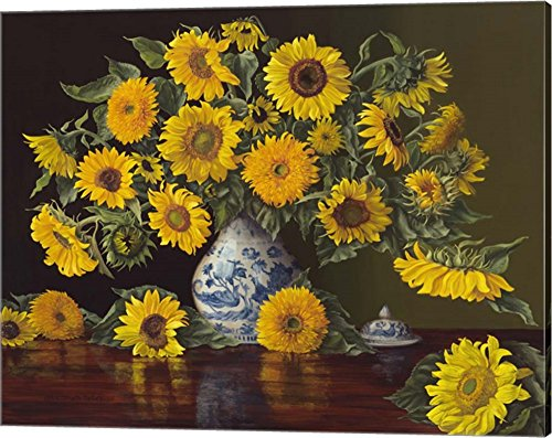 Sunflowers in Blue and White Vase by Christopher Pierce Canvas Art Wall Picture, Gallery Wrap