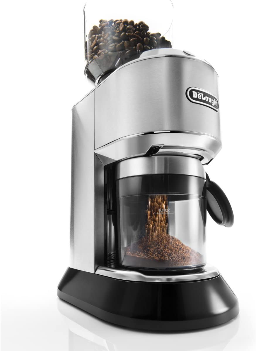 De Longhi Dedica Conical Burr Grinder with Portafilter Attachment, 6.9 x 11.2 x 18.1 inches, Silver