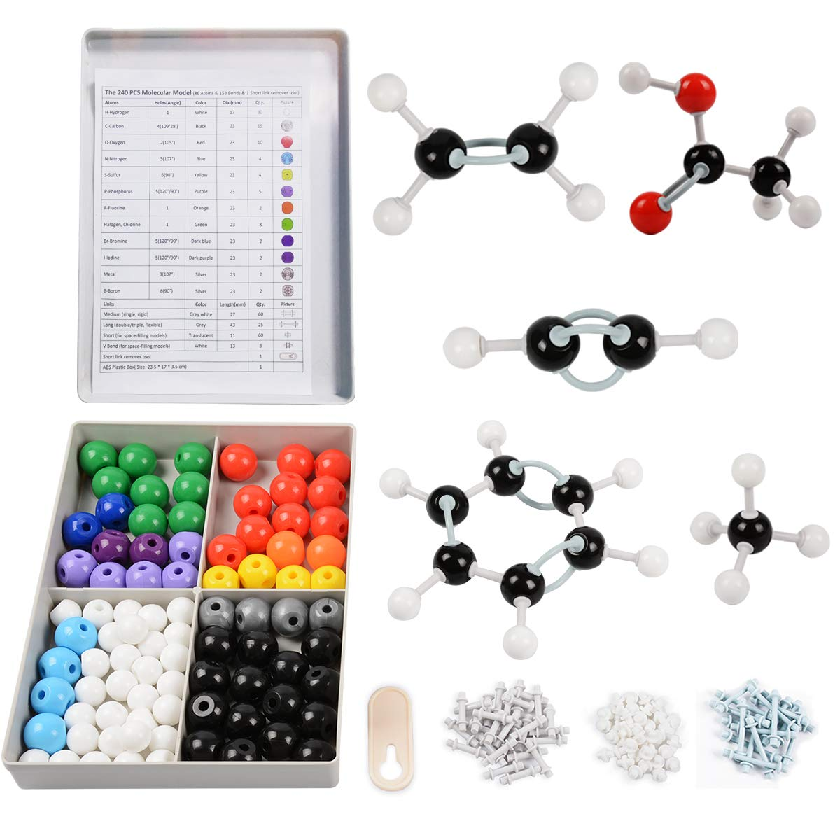 Molecular Model Kit 252 Pcs Molecular Model Teacher and Student Kit Organic Inorganic Chemistry Set for Building Molecules 86 Atoms /& 153 Links /& 12 Orbitals /& 1 Short Link Remover Tool