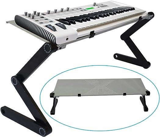 Gato hidráulico controlador MIDI teclado soporte de efecto para DJ con ventilación aleación de aluminio superficie y altura ajustable/ángulo