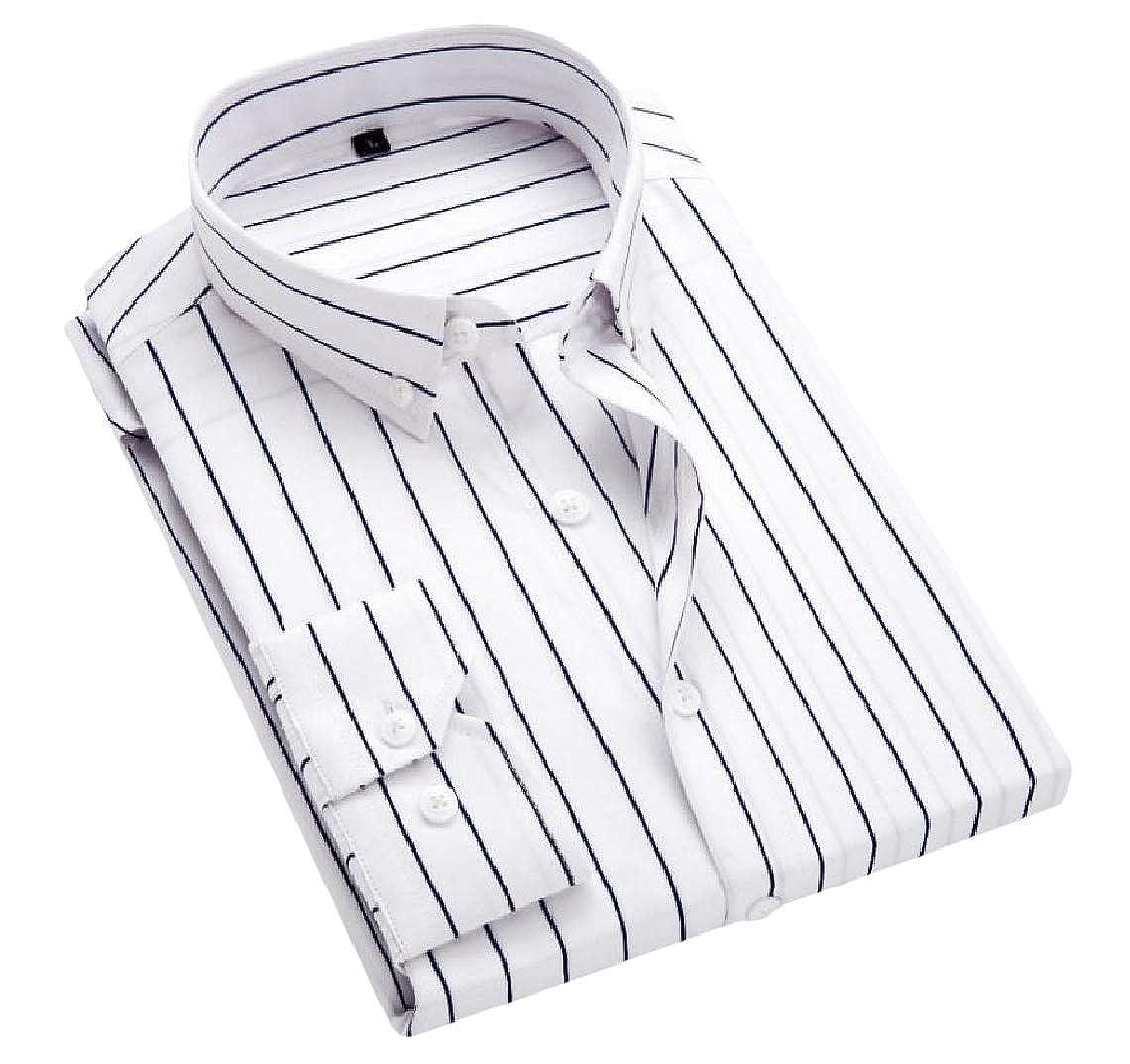 MirrliyMen Plus Size Slim Lapel Button Down Stripes Long-Sleeve Tops Shirt