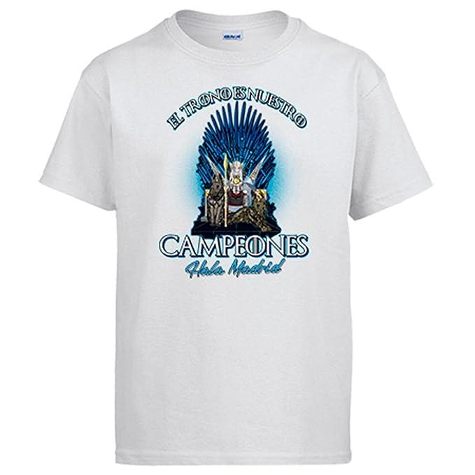 Camiseta Madrid fútbol Juego de Tronos el trono es nuestro Real - Blanco, M