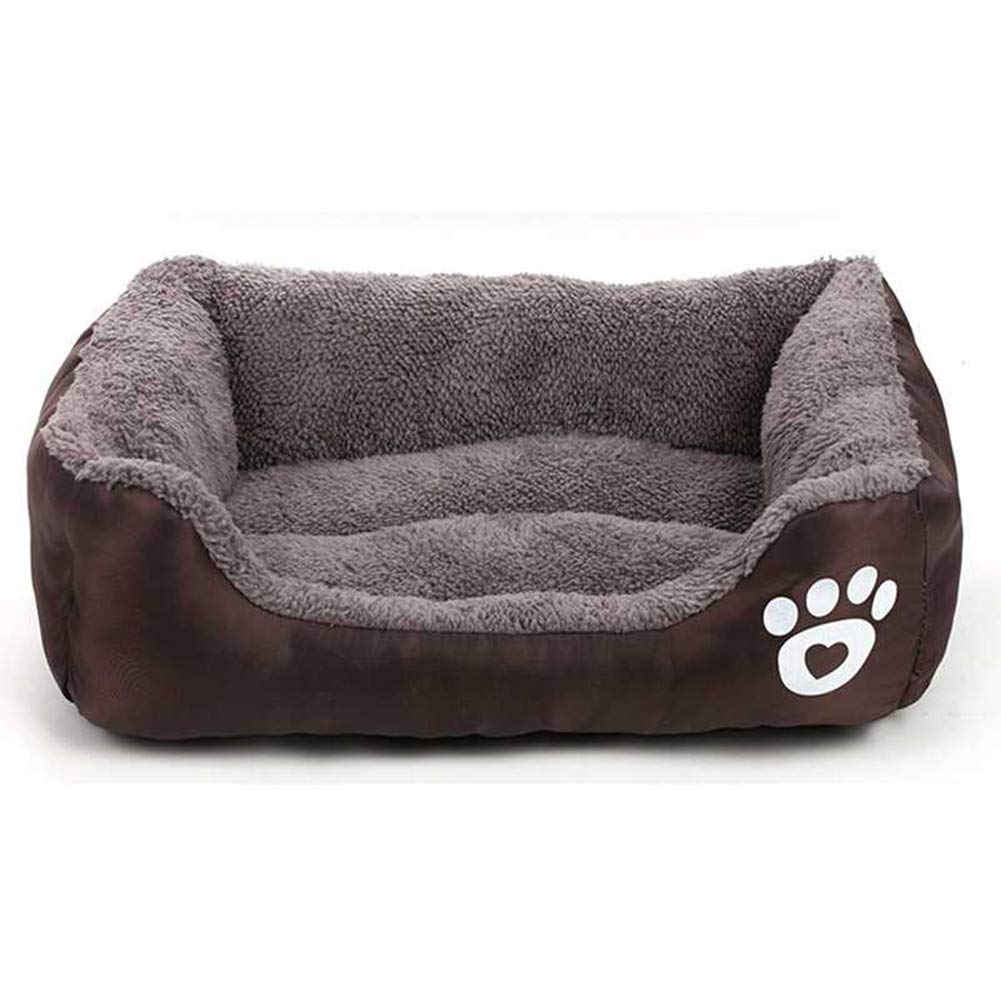 Brown S Brown S Pet nest, dog bed, cotton velvet Oxford cloth dog sofa, thick dog footprints square kennel, cotton velvet cat mat