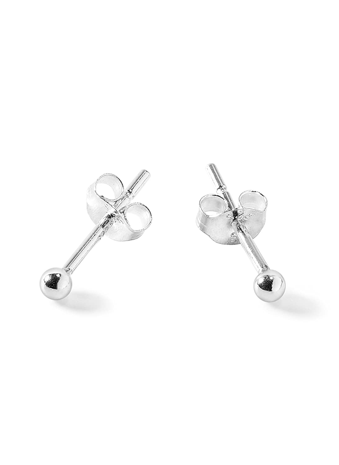 Sterling Silver Round Ball Stud Earrings with Matching Backings By Regetta Jewelry