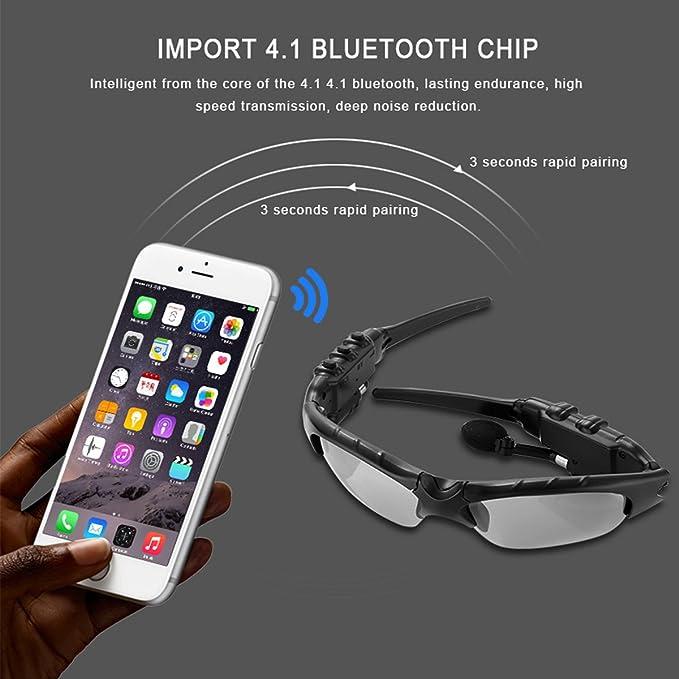 Auriculares inalámbricos Bluetooth Gafas de sol Auriculares Móviles Manos Libres Estéreo Auriculares Música Gafas de sol con lente polarizada para iPhone X ...