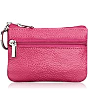 Hibate Mini Coin Purse Holder Wallet Leather Purses for Women Men Kids Zipper Pouch with Key Ring - Pink