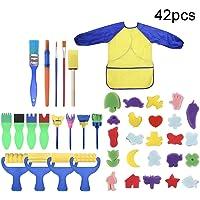 Uywgusag Toys & Games & Puzzle 42Pcs/Set Kids Sponge Paint Brush DIY Painting Rollers Apron Arts Crafts Tool - 42pcs