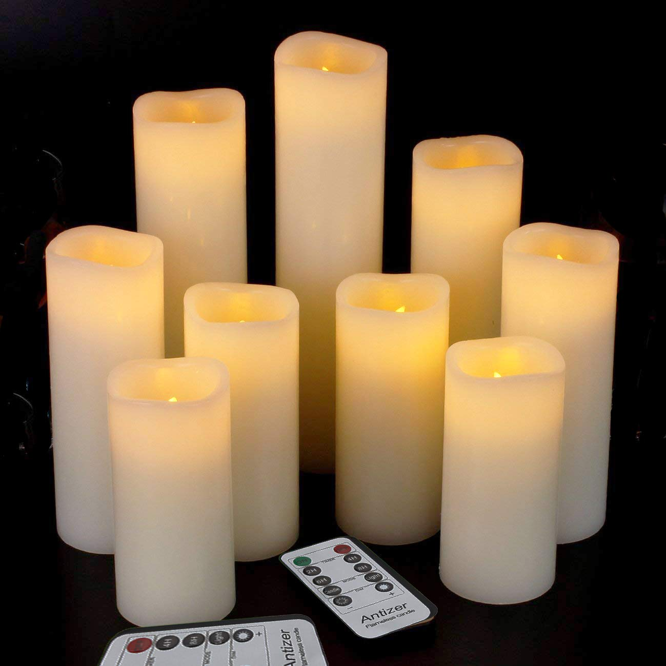 Antizer Flameless Candles Led Candles Pack of 9 (H 4'' 5'' 6'' 7'' 8'' 9'' x D 2.2'') Ivory Real Wax Battery Candles with Remote Timer