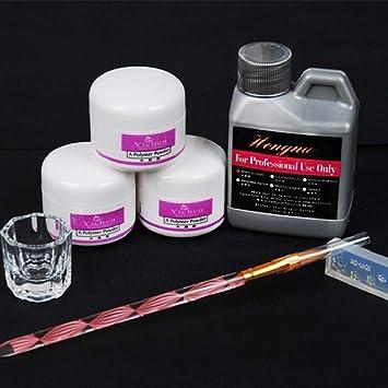 QUICKLYLY Uñas/Manicura-Pro Simply Nail Art Kits Líquido En Polvo Pluma Dappen Plato Conjunto De Uñas Herramientas: Amazon.es: Belleza