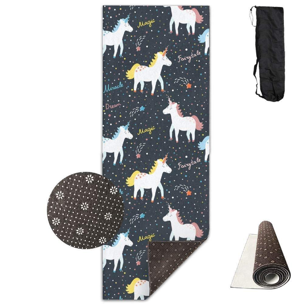 Cute Smiling Unicorns Star Words Yoga Mat Towel for Bikram Hot Yoga, Yoga and Pilates, Paddle Board Yoga, Sports, Exercise, Fitness Towel