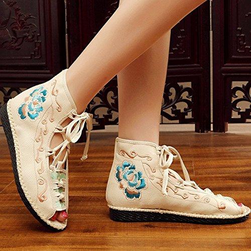 KHSKX-Le Vieux Pékin Brodés Des Chaussures Des Chaussures Chaussures Sandales Neuves Style Folklorique La Mode Des Sandales Avec Des Poissons Plats. Thirty-eight OcKXy8iwx