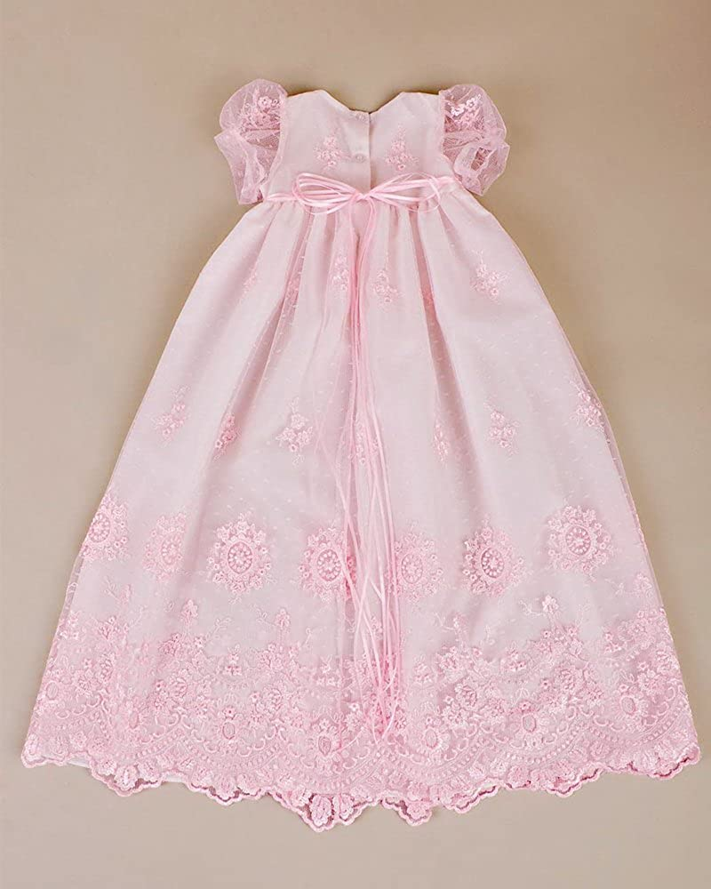 Kelaixiang Jewel Lace Pink Christening Gown Flower Border Bow Belt