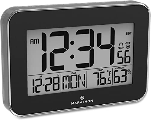 Marathon CL030060BK Designer Atomic Wall Clock with Polished Acrylic Bezel. Displays Calendar, Indoor Temperature and Humidity. Black Renewed