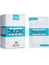 DUDE Shower Body Wipes 10 Count Wet Wipes Individually Wrapped for Travel Unscented Naturally Soothing Aloe and...