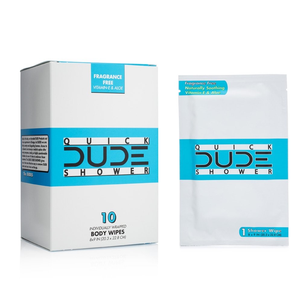 DUDE Shower Body Wipes, Wet Wipes Individually Wrapped for Travel, Unscented, Naturally Soothing Aloe and Hypoallergenic (1 Pack, 10 Wipes)