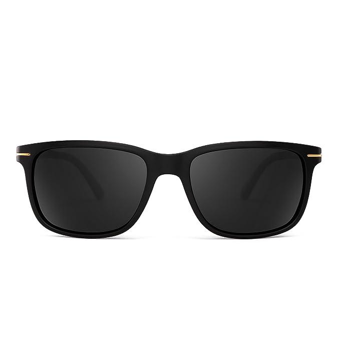 Gafas de Sol Polarizadas Retro Clásico Cuadradas Conducir Anteojos Hombre Mujer(Negro/Gris Polarizado