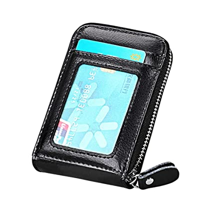 official photos 00245 63a8c Slim RFID Blocking Card Wallet,Gazigo Minimalist Leather Credit Cards  Holder with ID Window and Keychain (Black Credit Card Holder Wallet,  One_Size)