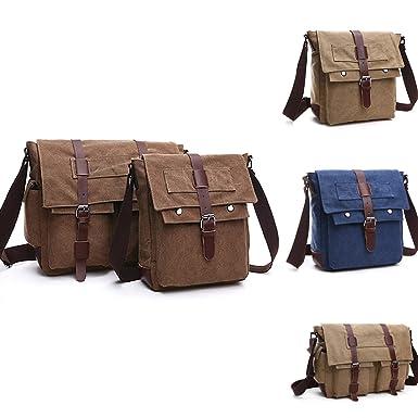 9cae42576f Military Vintage Men s Canvas Leather Messenger Bag Casual Cross Body  Laptop Shoulder Bags Satchel School Laptop Bag for 15 inch Laptop  Briefcase  ...
