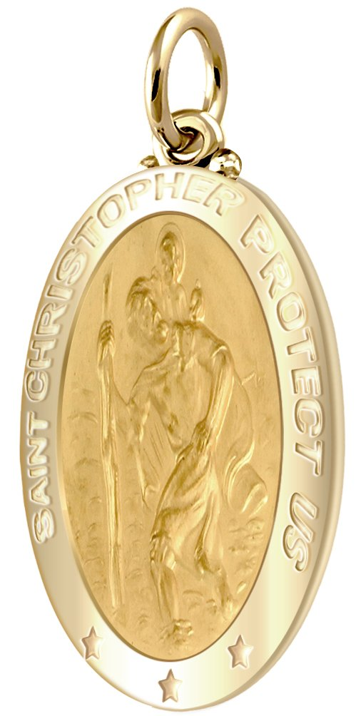 Men's 14k Yellow Gold St Christopher Oval Polished 1'' Solid Pendant by US Jewels And Gems