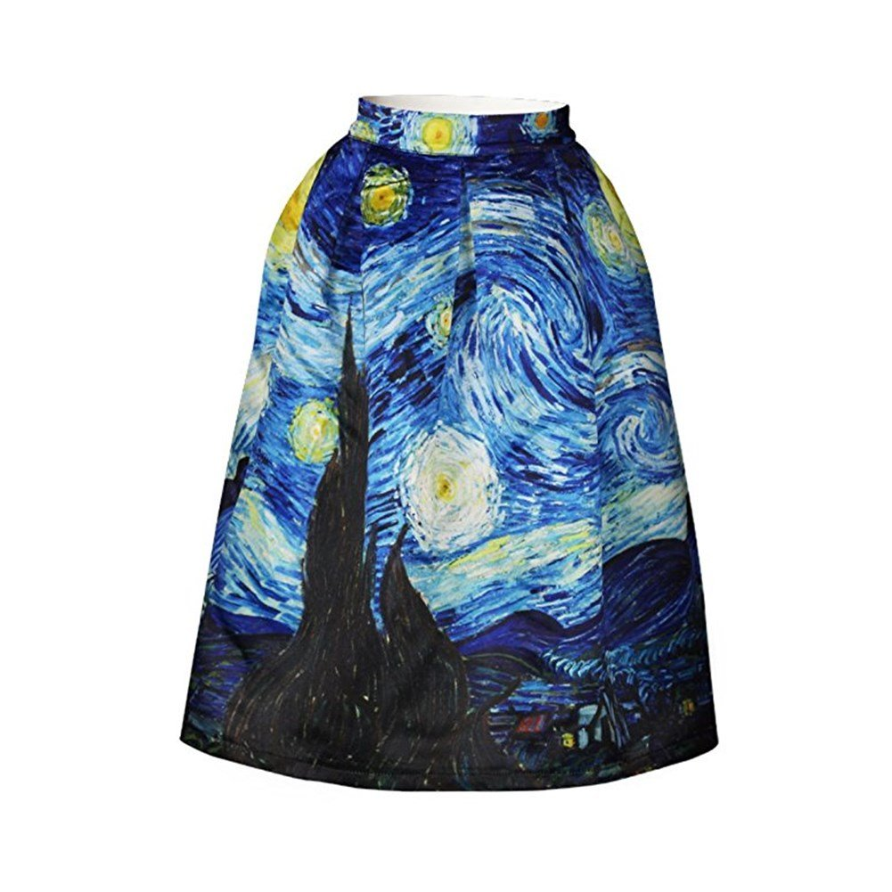 Hamrank Women's Vintage Floral Print A-Line Flared Pleated Midi Skirt HM-US-K039-R