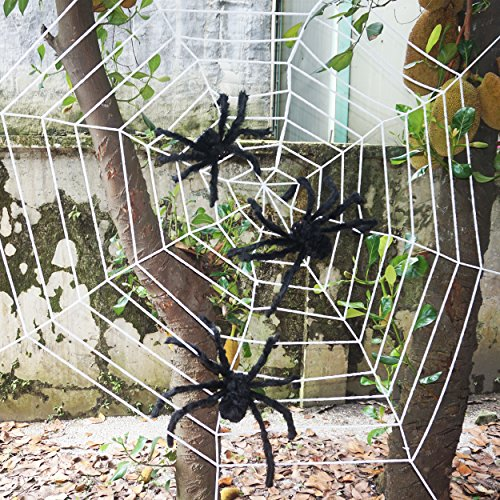 Three Giant Realistic Looking Hairy Spiders with Huge Halloween Spider Web For Best Halloween Decorations Props by Spooktacular Creations - Spiders Halloween Decorations