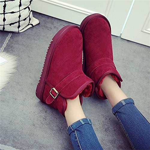 SHELAIDON Suede Wool Ankle Snow Boots Flat Cow Leather Men Women Fur Bootie Slippers Wine dUPX2hq