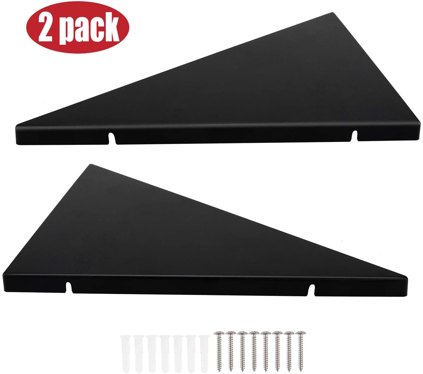 Evron Corner Mounting Shelf,Easy to Install Wall Corner Shelf,Set of 2 Black..