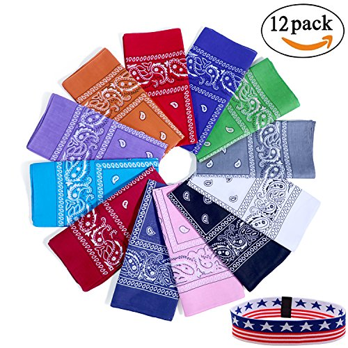 Bandanas for Men and Women, Paisley Cowboy Headband for Raves, Riding, Dust and More-3/6/12Pack, Assorted Colors, 22 inch (Paisley Head Bandanas)