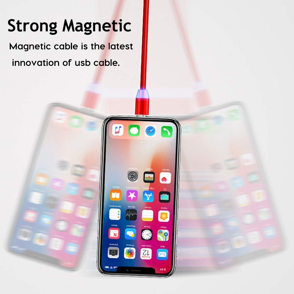 Red DeHasion 4X Magnetic Charger Cable//6x Tips 3.3ft 3 in 1 Magnetic Charging Cord Multiple USB Charging Cable Micro USB//Type C//L Connectors Compatible with Phone XS MAX Galaxy S10//Note 9