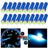 UMIS 20 Pack Ice Blue T5 58 70 73 74 Dashboard Gauge 5050SMD LED Wedge Lamp Bulb Ligh For Honda Dodge Dodge Acura Subaru Pontiac Jeep