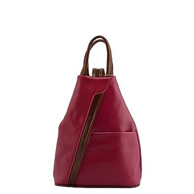 Damen Rucksack In Echtem Leder Mit Verstellbaren Trägern Farbe Fuchsie - Italienische Lederwaren - Rucksack Dream Leather Bags Made in Italy a2kwIC5rH