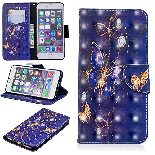 Yobby Flip Wallet Case for iPhone 6 Plus,iPhone 6S Plus Case, Slim Premium PU Leather Case with 3D Colorful Pattern Design Card Slots and Magnetic Closure Stand Shockproof Cover-Purple Butterfly