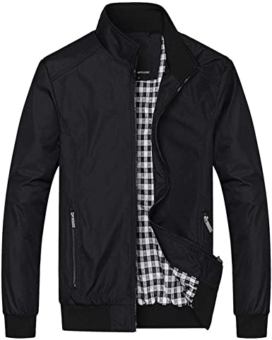 Abetteric Mens Stand-up Collar Short Thicken Zip Relaxed-Fit Anorak Jacket