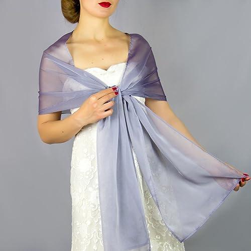 Chal chiffon color lavanda lila azul violet novia boda accesorio de fiesta