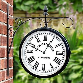 Superior Outdoor Garden Kensington Station Outside Bracket Wall Clock 25cm Double  Sided