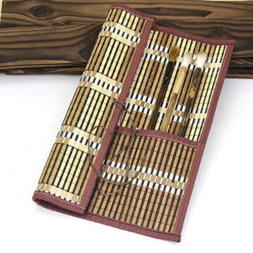 Easyou Bamboo Calligraphy Brush Holder Rollup Portable Protector 36x32cm(14.1